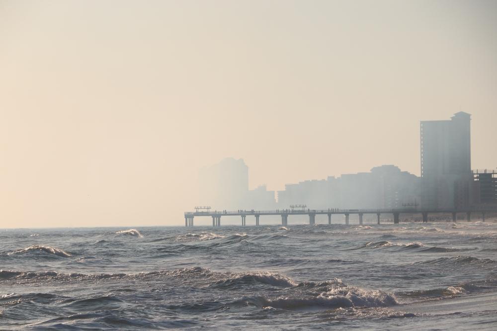 The lingering jet fuel cloud.